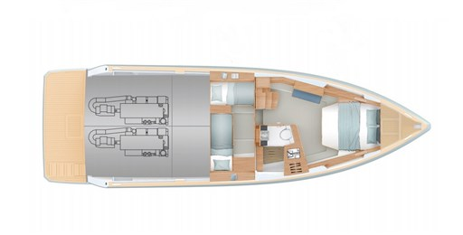 Fjord 44 OPen lower deck layout
