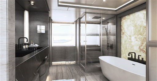 Majesty 140 -yacht -for sale -french riviera -master bath-craft-Bella yacht